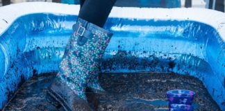 Testing the durability of our festival wellies