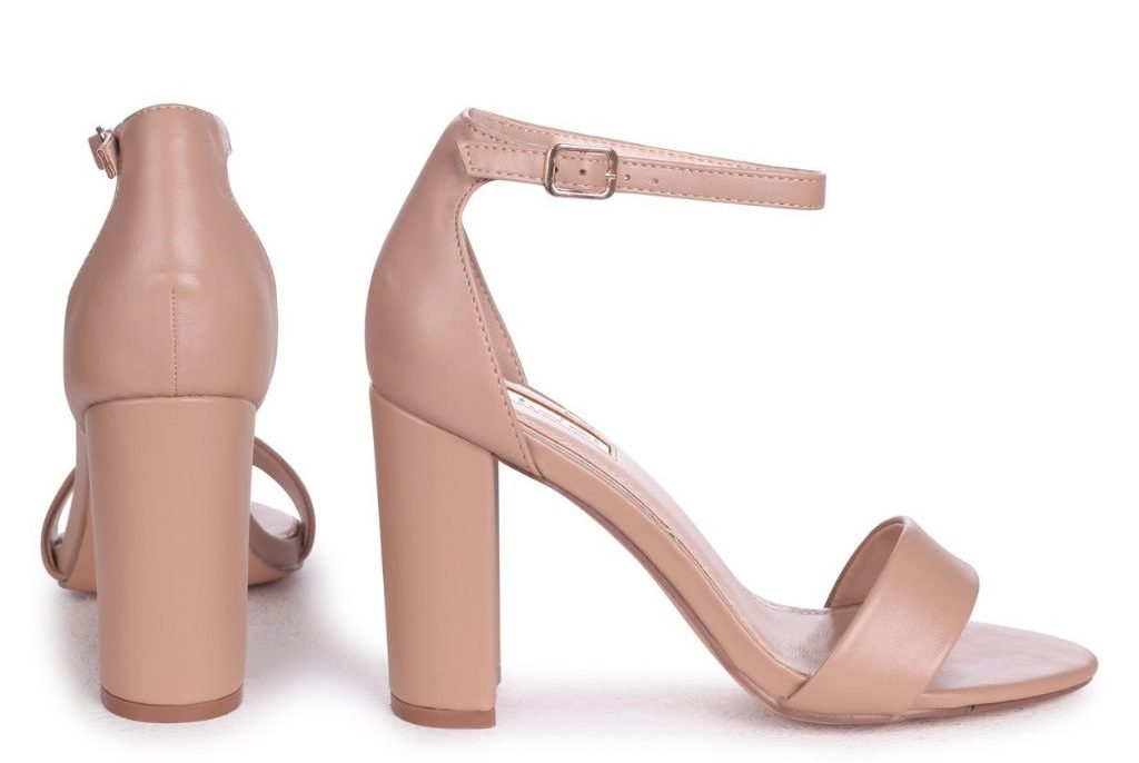 Try a nude strappy shoe for a sophisticated barely-there look, such as this pair of sleek block heels.