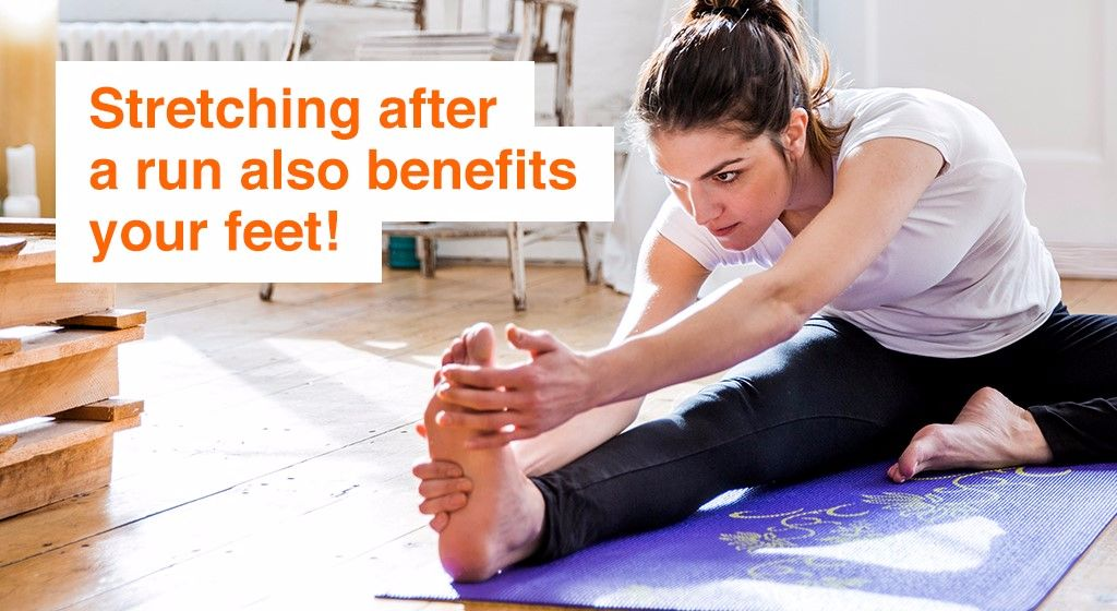 Stretching after a run benefits your feet